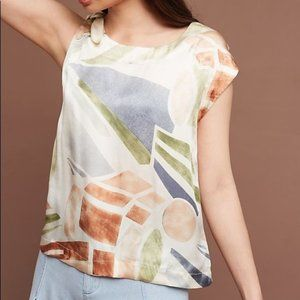 anthro / maeve silk abstract art blouse